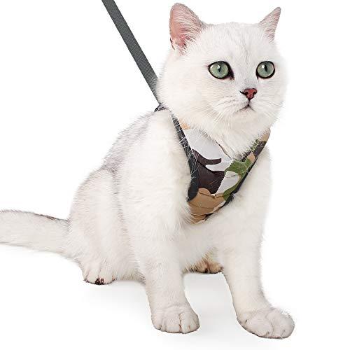 Katzengeschirr und Leine Set, Katzenweste, entweichsicher Haustiergeschirr, verstellbares weicher Brustgeschirr für Katzenhunde, Pufferwirkung und Ausbruchsicheres Geschirr für Katzen-Kätzchen-Welpen
