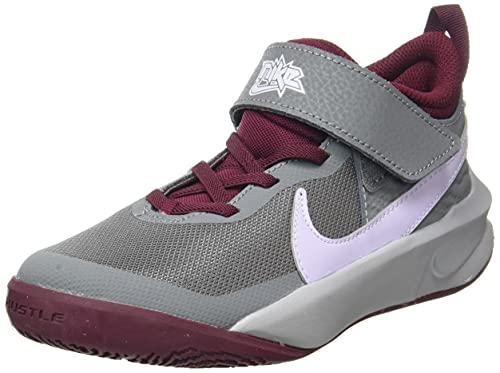 Nike Team Hustle D 10, Basketball Shoe, Smoke Grey/Pure Violet-Dark Beetroot, 35.5 EU