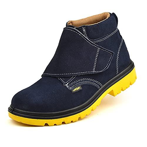 Zapatos de trabajo Botas de trabajo de seguridad altas para hombres para soldadores, tapa de punta de acero resbaladizas resistentes al aceite en zapatos de trabajo, gamuza de cuero tobillo cocina ind
