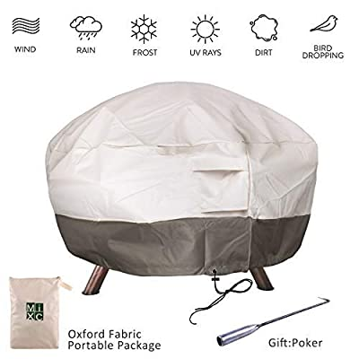 Mixc 91cm Round Fire Pit Cover Waterproof Heavy Duty 600d Thick Large Deluxe Oxford Weather Resistant Protective Outdoor Fire Bowl Cover Air Vents Elastic Hem Uv Protected Garden Bbqs Patio Sets from MIXC