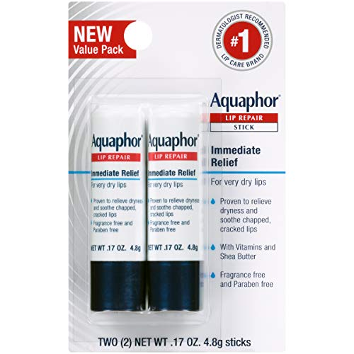 Aquaphor Lip Repair Stick - Soothes Dry Chapped Lips - Two .17 Oz Sticks