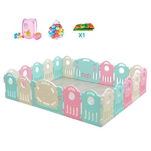 FFYN Corralito para bebés Puerta Corralitos Gemelos Seguridad Extra Grande Valla para bebés Alfombrilla para Piso Pelota de plástico Visibilidad Interior y Exterior - 20 Paneles (Color: A, Tamaño