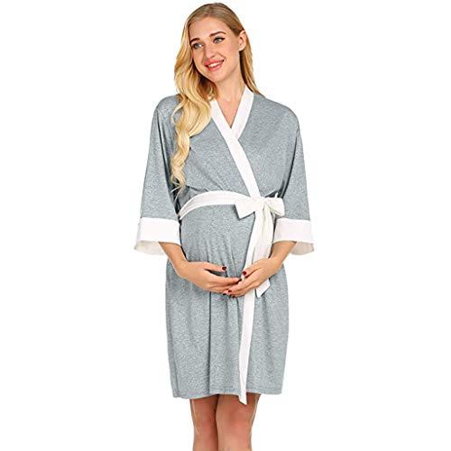 Mujer Pijama Premamá Embarazo Lactancia STRIR Maternity Set Premamá Camison de Lactancia y Bata (L, Gris)
