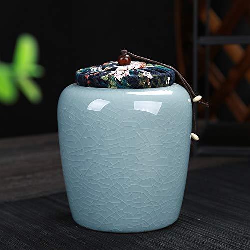 LUFEILI Teekannen aus Keramik, Stoffbezug, versiegelte Aufbewahrung, Aufwach-Tee, mittel Stoffbezug blau