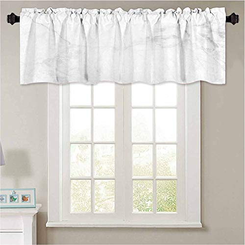 YUAZHOQI Print Farmhouse Valance White Grey Marble Texture Background with high Resolution top View of Natural Tiles Stone in Luxury Window Curtains for Kitchen and Bathroom 36' W x 18' L