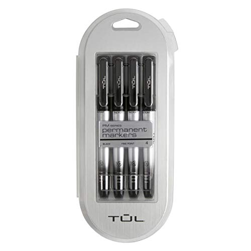TUL Permanent Markers, Fine Point, Silver Barrel, Black Ink, Pack of 4 Markers