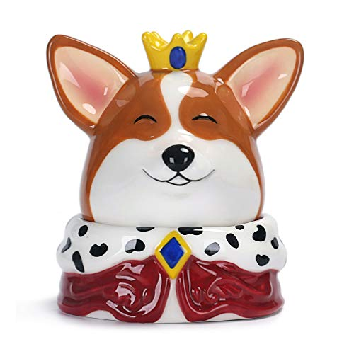 Bico Ceramic Corgi King Jewelry Case, Birthday Gift, Handpainted Table Organizer with Mirror