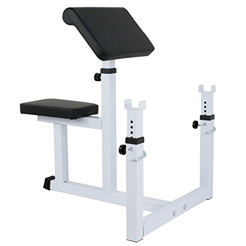 ZENY Preacher Curl Bench Arm Curl Weight Bench for Biceps Triceps Muscle Strength Training Isolated Barbell Dumbbell Rack Home Gym Equipment, Adjustable Height