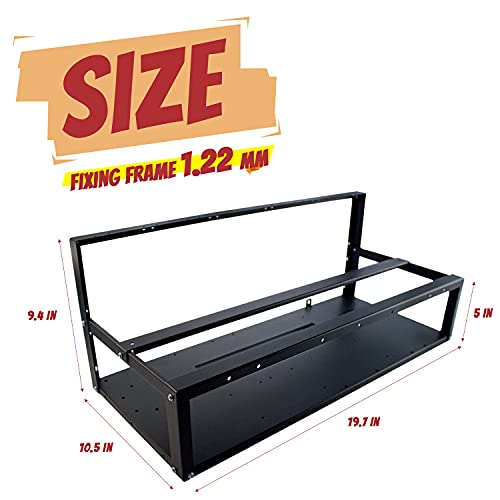 Mining Rig Frame Up to 8 GPU, Steel Open Air Crypto Mining Frame Rig Case with Switch Cable & Gloves, Support Long & Short Sizes GPU, for ETH/ETC/ZEC/BTC/Bitcoin/Ethereum/Dogecoin