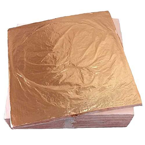 Yyuezhi 100 Vergulde bladfolie Clinquant voor kunsthandwerk huis decoratie Toepassingen en meubels 14 x 14 Limi 5,5 x 5,5 inch koperfolie.