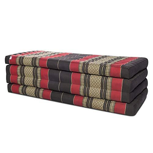 Thai Matte Liege Klappmatratze mit Blütenmuster 200cm x 105cm vierlagig für Thaimassage Yoga oder als Entspannungsmatte Schlaf-Matte - gefüllt mit Kapok (Rot-Schwarz)