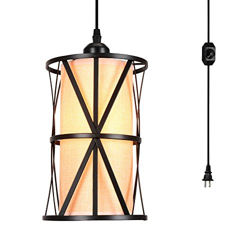 HMVPL Plug in Pendant Light, Swag Lights with Hanging Cord and On/Off Dimmer Switch Farmhouse Ceiling Pendant Lamps with Linen Lampshade for Dining Room Bedroom Kitchen Island Table Entryway