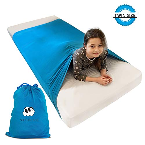 Sensory Compression Bed Sheet | Twin Size | Alternative to Heavy Weighted Blankets | Stretchy, Breathable, Firm Pressure for Calming & Relaxing Sleep | Aqua