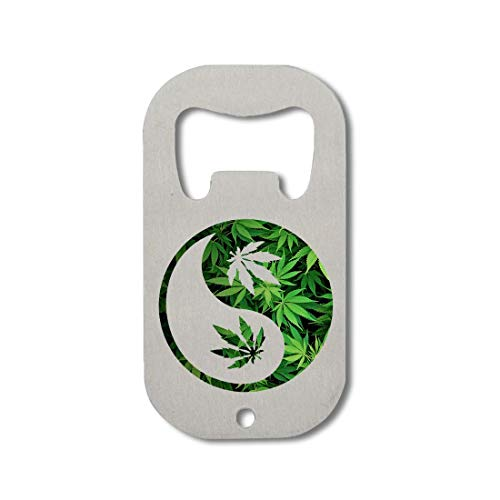 Yin and Yang Weed Leaf Cannabis Ganja Abrebotellas de acero inoxidable