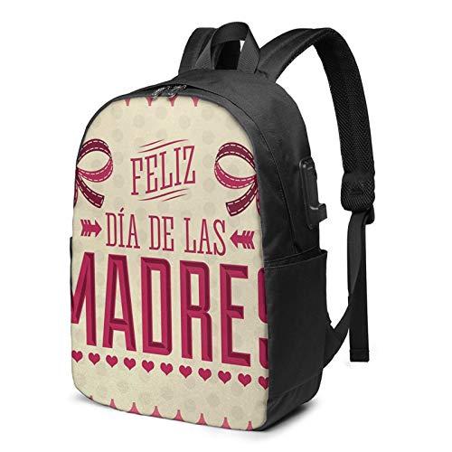 WEQDUJG Mochila Portatil 17 Pulgadas Mochila Hombre Mujer con Puerto USB, Día de la Madre 56 Mochila para El Laptop para Ordenador del Trabajo Viaje