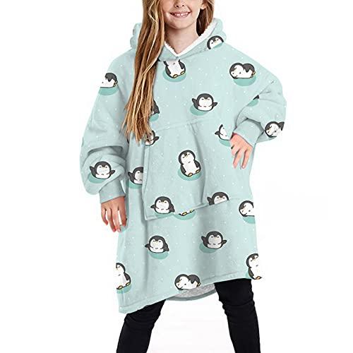 Vertvie Manta con capucha de gran tamaño para niños y niñas, verde, L