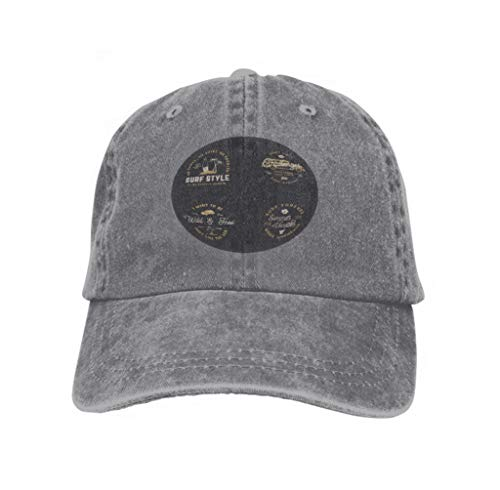 Xunulyn Adult Adjustable Structured Baseball Cowboy Hat Sagittarius Zodiac Horoscope Card Circle Shabby muscu Gray