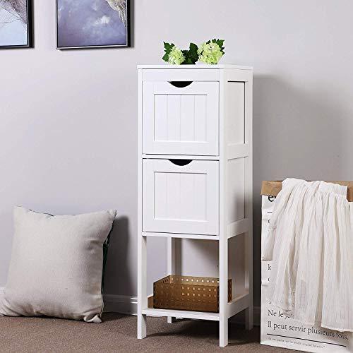 White Floor Cabinet Multifunctional Bathroom Storage Organizer Rack Stand, 2 Drawers 1112006