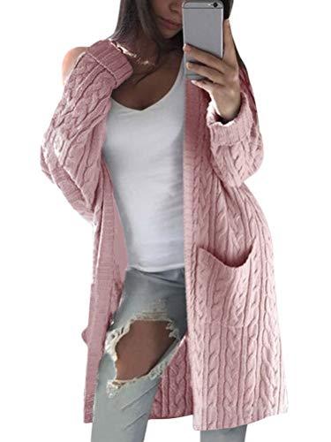 OranDesigne Strickjacke Damen Grobstrick Cardigan Strickmantel mit Taschen Mantel Jacke Winter 2-Pink XL
