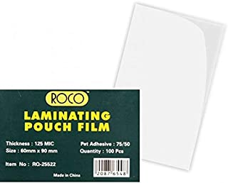 ورق تغليف حراري من روكو 125 ميكرون، طول 60 ملم × عرض 90 ملم، شفاف