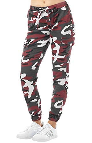Almost Famous Women's Juniors Cargo Pocket Jogger Drawstring Pant Red Camouflage