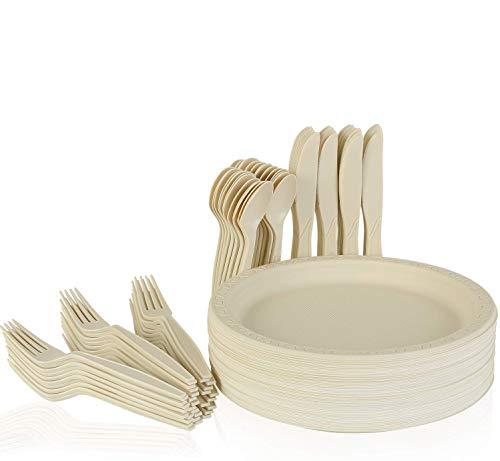 MVPower Einweggeschirr, 220-Teilig, je 55 Teller(9 Zoll), 55 Gabeln, 55 Löffel und 55 Messer, Geschirrset aus Maisstärke, Biologisch Abbaubar, umweltfreundlich,für Party,Camping und Picknick(55er-Set)