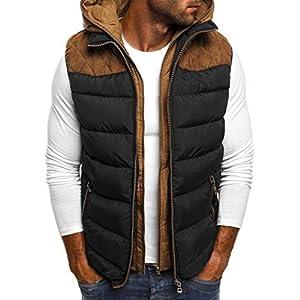 Men's Hoodie Autumn Winter Zipper Pure Color Waistcoat Vest Coat Men's Hooded Thick Warm Down Cotton Vest Tops S-5XL