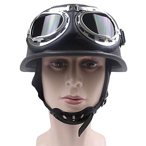 Vintage Leather Motorcycle Helmet with Open Type Protective Goggles Travel Half Helmet Suitable for Cycling Scooter Cruiser Men Women ECE Approved A,L