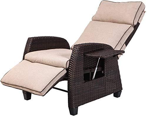 Grand patio Relaxliege Liegesessel, Ergonomisch, Outdoor Resin Wicker Recliner Stuhl mit Kissen, Seitenwand, UVFade/Wasser/Sweat/Rost Resistant (Beige)