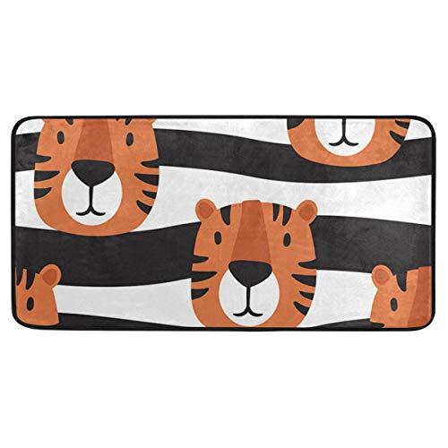 Bardic anti-slip deurmat schattig tijger streep deurmat machine wasbare slaapkamer mat voor wonen dineren kamer slaapkamer keuken, 50.8x99cm