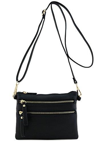 Multi Zipper Pocket Small Wristlet Crossbody Bag (Black)