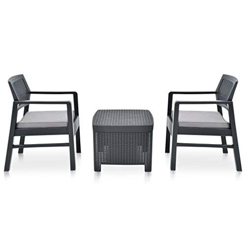 Festnight 3-delige Loungeset kunststof Eettafel Tafel en stoelen Keuken Stoffen zitting Eetstoelen Moderne stijl Tuinset Meubels antraciet