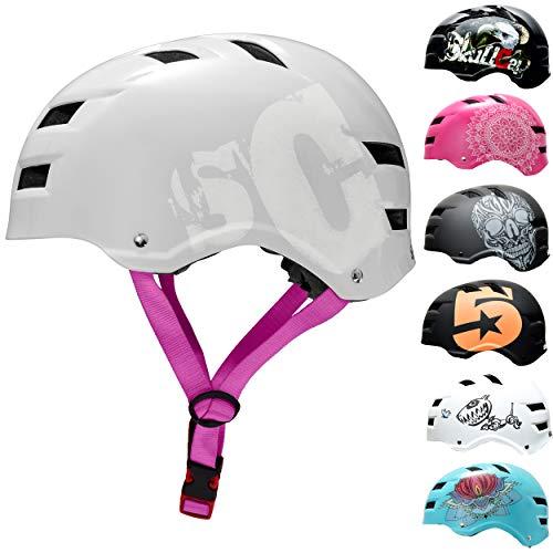 SC Skateboard & BMX Bike Helmet for Kids & Adults – 20 Designs, SC Purple Strap, Size: L