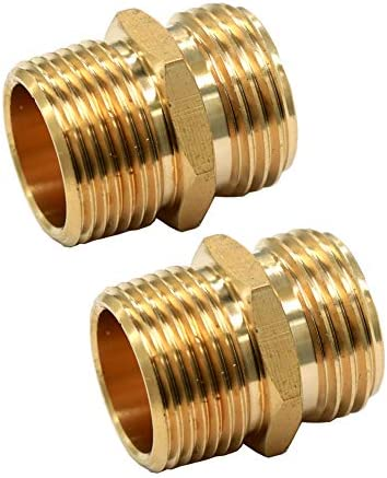 GESHATEN 3 4 GHT Male x 3 4 NPT Male Connector Brass Garden Hose Fitting Adapter Industrial product image
