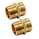 """GESHATEN 3/4"""" GHT Male x 3/4"""" NPT Male Connector, Brass Garden Hose Fitting, Adapter, Industrial Metal Brass Garden Hose to Pipe Fittings Connect (2 Pack)"""