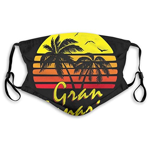 Gran Canaria Vintage Sun Black Unisex dammskydd med filter utbytbar sömlös filterhalsduk bandana ansiktsskydd återanvändningsbar dammsäker