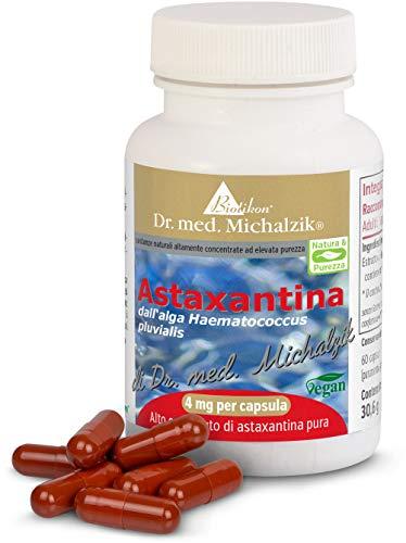 Astaxanthin nach Dr. med. Michalzik, 100% pflanzlich ohne Zusatzstoffe, 400 mg Algen-Extrakt aus Haematococcus pluvialis, 4 mg reines Astaxanthin (mit HPLC-Analyse gemessen) je Kapsel, 60 vegane Kapseln - ohne Zusatzstoffe - von BIOTIKON®