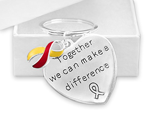 Fundraising for a Cause| Red & Yellow Awareness Ribbon Key Chains for Coronavirus Disease (COVID-19) and Hepatitis C Awareness (12 Key Chains)