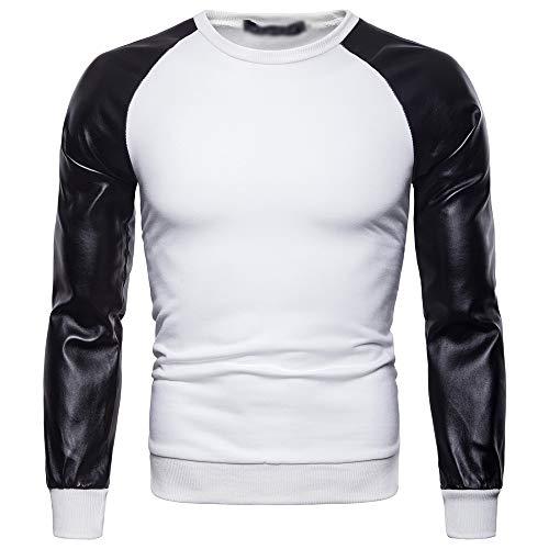 BOZEVON Homme Col Rond Sweat-Shirt - Automne Hiver Cuir PU Manches Longues Pullover Tops T-Shirt Hommes, Blanc, EU XL=Tag 2XL
