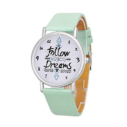 ¡Promoción! Relojes de Cuarzo para Mujer con Mundos, exclusivos Relojes de señora de Relojes de señora de Relojes de Pulsera de Relojes de Pulsera Mujer (Menta Verde)