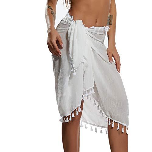 Eicolorte Hawaiian Beach Sarong Pareo Women Bikini Cover Up Swimsuit Wrap Skirt Swimwear (White-Short)