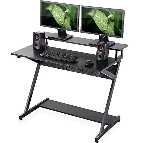 FITUEYES Escritorio de la Computadora Mesa de Ordenador en Forma de Z Escritorio para hogar (Negro, 1000 * 600 * 840 mm)