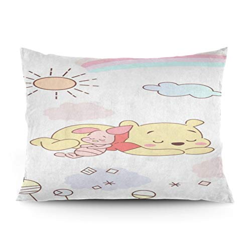 Omigge Cute Cartoons Square Throw Pillow Case, Soft Velvet Cushion Cover With Hidden Zippe For Couch Sofa Home Bed Decoration,Disney Winnie Pooh And Piglet Rainbow Sleeping