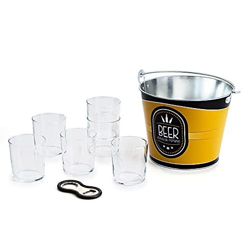 Set de 6 Vasos vidrio Pinta Luminarc de cerveza 36cl + Cubo para Botellines de Cerveza + Abridor de tapones o chapas