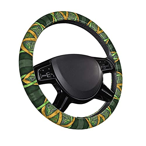Celtic Trinity Knot Steering Wheel Cover, Microfiber Leather Auto Steering Wheel Cover Protector Anti-Slip Universal 15 Inch Fit Most of Car