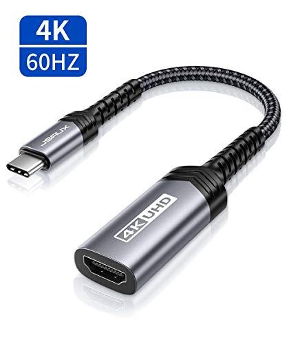 JSAUX USB C HDMI Adapter 4K@60Hz, USB Typ C zu HDMI Adapter [Thunderbolt 3] Kompatibel mit MacBook Pro 2019/2018, iPad Pro 2018, iMac, Dell XPS 13/15, Pixelbook, Samsung S20/S10, Huawei P30/P20 Grau