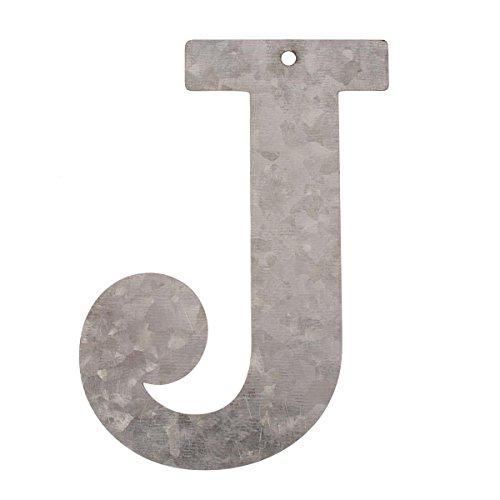 Glorex Lettera zincato J, Metallo, Argento, 16x 10x 0.5cm