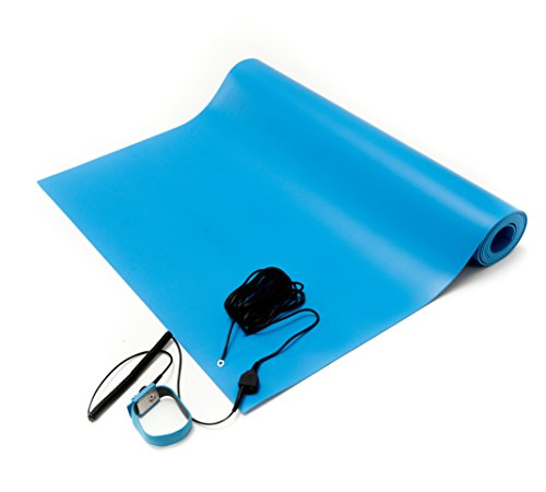 Bertech ESD Mat Kit (Made in USA), 3 Feet Wide x 6 Feet Long x 0.094 Inches Thick, Blue, Includes a Wrist Strap and Grounding Cord, RoHS and REACH Compliant