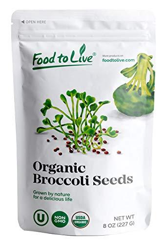 Organic Broccoli Seeds for Sprouting, 8 Ounces - Non GMO, Kosher, Bulk