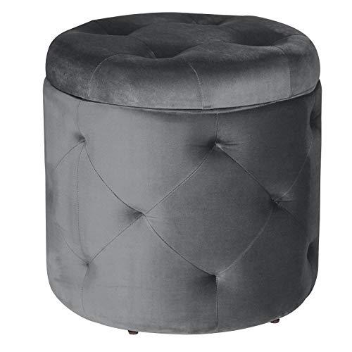 eSituro SOM0108 Sitzhocker Samthocker mit Stauraum, Hocker Samtbezug, Sitzmöbel Aufbewahrungsbox, Polsterhocker Hohe Belasterbarkeit Rund, Dunkelgrau